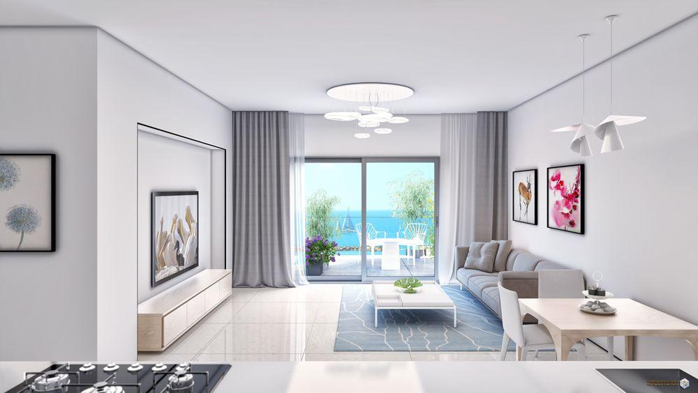 סלון בדירת 2 חדרים בפרויקט אלמוגים