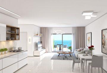 סלון בדירת 3 חדרים בפרויקט אלמוגים